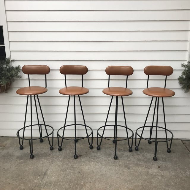 Frederick Weinberg Style Upholstered Cast Iron Barstools/Chairs Fantastic looking geometric-shaped Iron hairpin legs with...