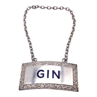 """""""Gin"""" Enameled Sterling Silver Decanter Label For Sale"""