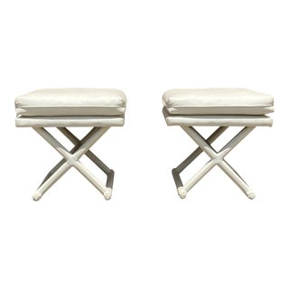 White Leather X Base Benches - a Pair For Sale