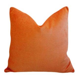 "Chic Tangerine Orange Velvet Feather/Down Pillow 24"" Square For Sale"