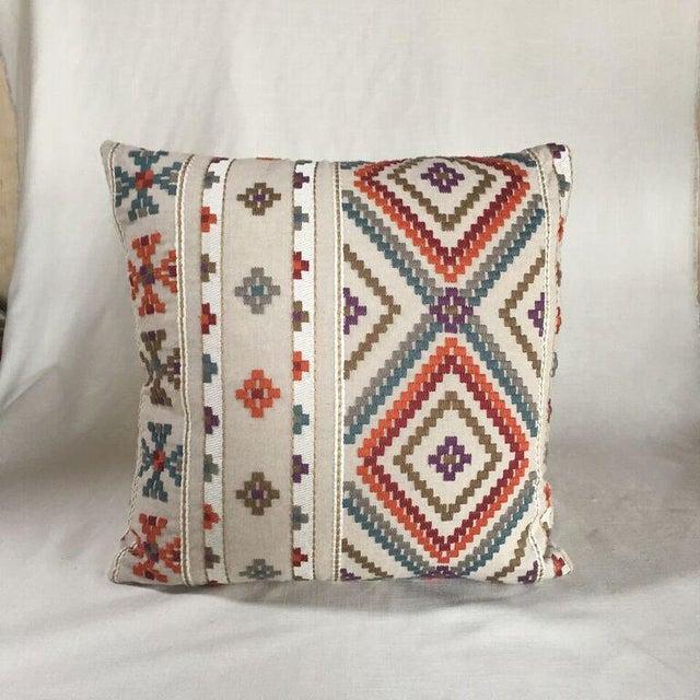 By Kim Salmela, a 22x22 pillow in designer fabrics. Woven ivory cotton/poly reverse, knife edge finish, hidden zipper...