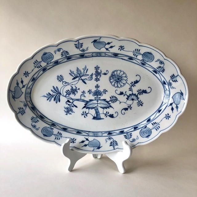 "Impressive 19"" Serving platter featuring Ernst Teichert Meissen Blue Onion design- marked with single arrow mark and..."