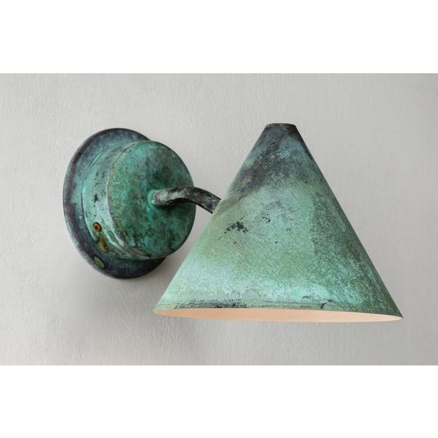 Hans-Agne Jakobsson 'Mini-Tratten' Patinated Copper Outdoor Sconces - a Pair For Sale In Los Angeles - Image 6 of 13