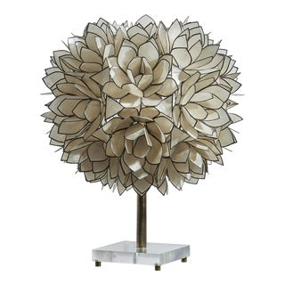 Flower Lamp Blossoms of Mother of Pearl on Metal Frame For Sale