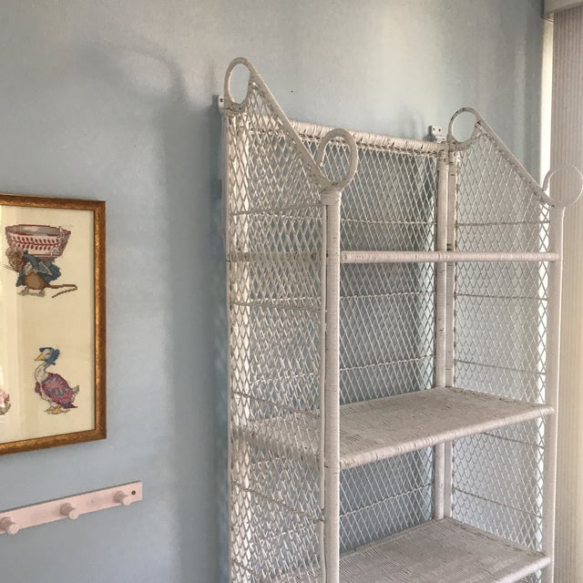 1970s Shabby Chic Victorian White Wicker 5-Shelf Wall Unit For Sale In San Francisco - Image 6 of 13
