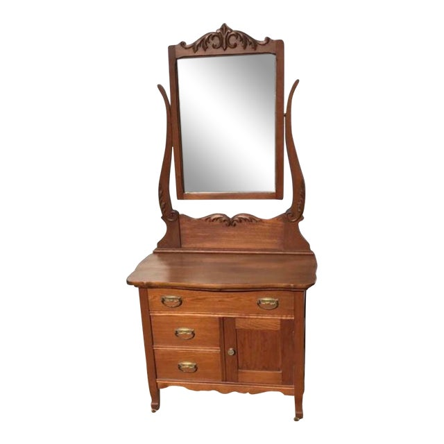 Antique Wash Stand W/ Mirror For Sale
