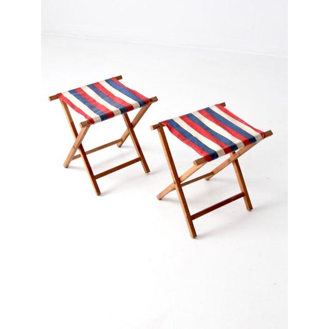 Vintage Striped Camp Stools - Set of 2 For Sale - Image 10 of 10