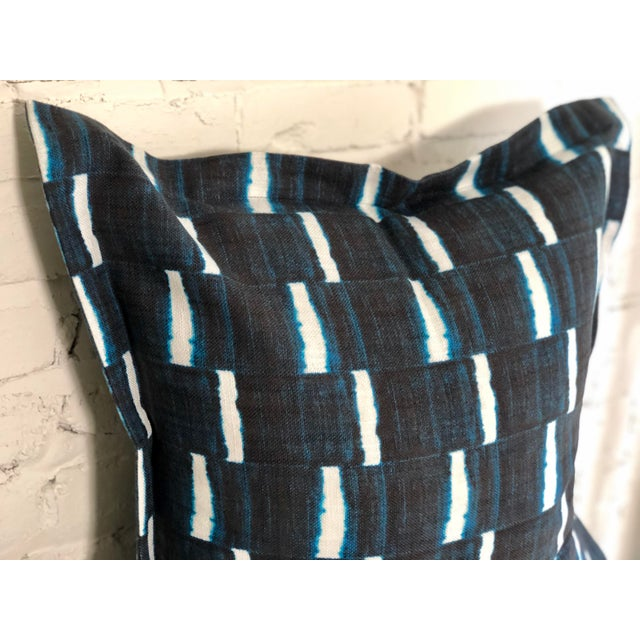"2010s Pair of 24"" Indigo Dyed Linen Pillows by Jim Thompson For Sale - Image 5 of 10"
