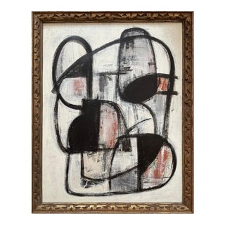 Contemporary Abstract Mid-Century Inspired Framed Painiting For Sale