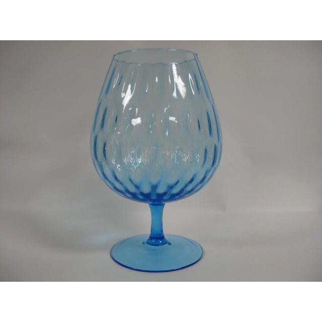 Mid-Century Modern 1960s Empoli Aqua Blue Optic Glass Snifter Vase For Sale - Image 3 of 13