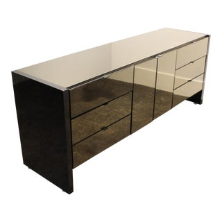 1970s Ello Credenza With Smoky Mirrored Glass and Gunmetal Gray Steel Veneer. For Sale