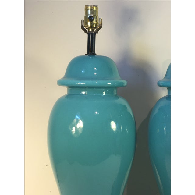 Vintage Turquoise Ginger Jar Lamps - A Pair - Image 4 of 4