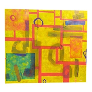 Geometric Abstract Oil on Canvas For Sale