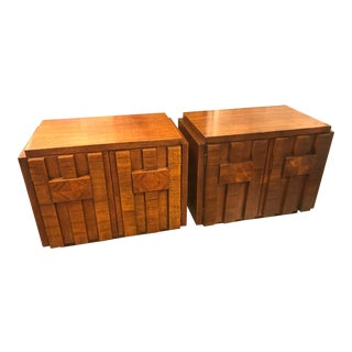 1970s Brutalist Paul Evans Style Sculptural Relief Wood Side Tables - a Pair For Sale