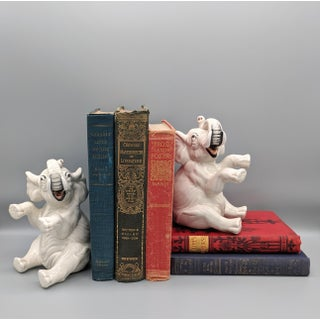 20th Century Fitz and Floyd White Elephant Bookends- A Pair Preview