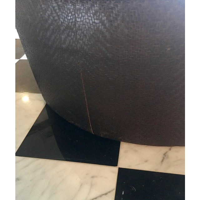 Vintage Leather Ottoman in the Style of Ralph Lauren For Sale In New York - Image 6 of 7