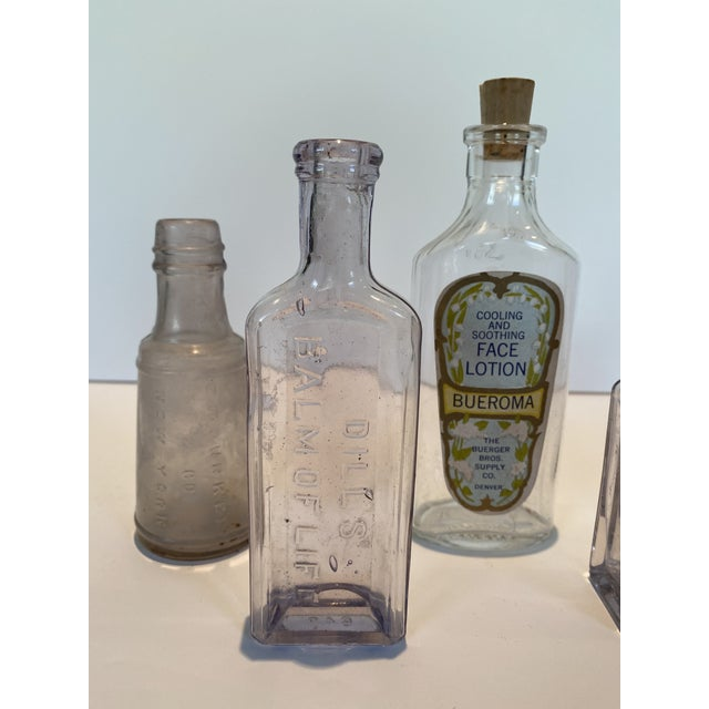 Shabby Chic Vintage Glass Apothecary Bottles - Set of 7 For Sale - Image 3 of 11