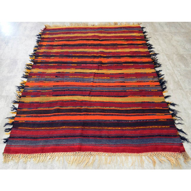 Antique Turkish Oushak Shaggy Mohair Tulu Rug - 4′6″ × 6′3″ - Image 9 of 10