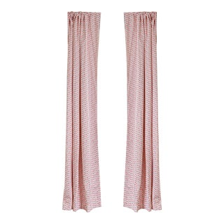 "Pepper Poppy Pink 50"" x 84"" Curtains - 2 Panels For Sale"