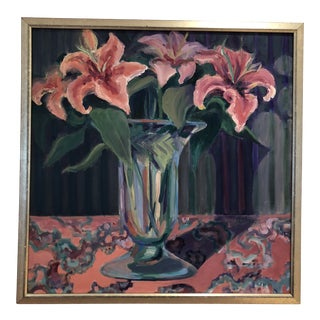 Oil Painting of Pink Lilies For Sale