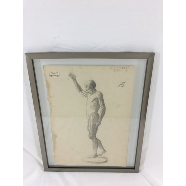 19th Century French Medical Drawing of Front Muscular Structure For Sale - Image 6 of 6