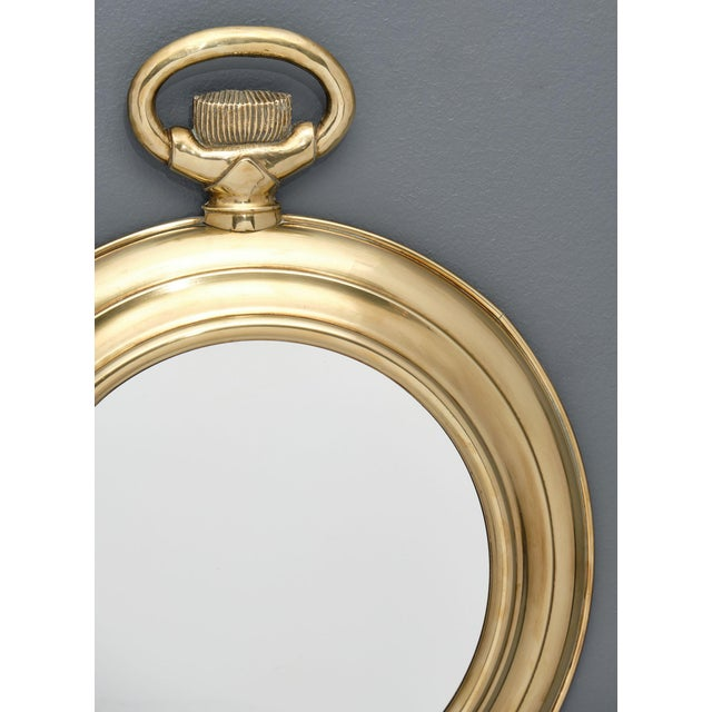 Art Deco Vintage Brass Pocket Watch Mirror For Sale - Image 3 of 10