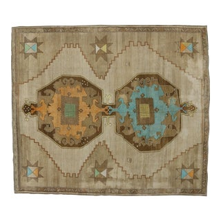 1950s Turkish Painted Oushak Kars Area Rug - 11' X 12'9 For Sale