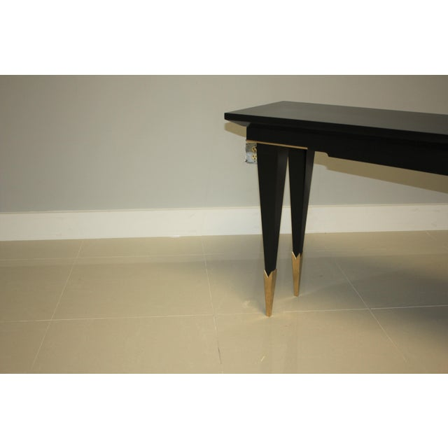 1940s French Art Deco Ebonized Console Table For Sale In Miami - Image 6 of 13