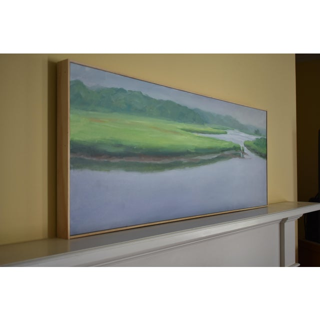 """Blue """"Adamsville Landing"""" Contemporary Plein Air Painting by Stephen Remick For Sale - Image 8 of 13"""
