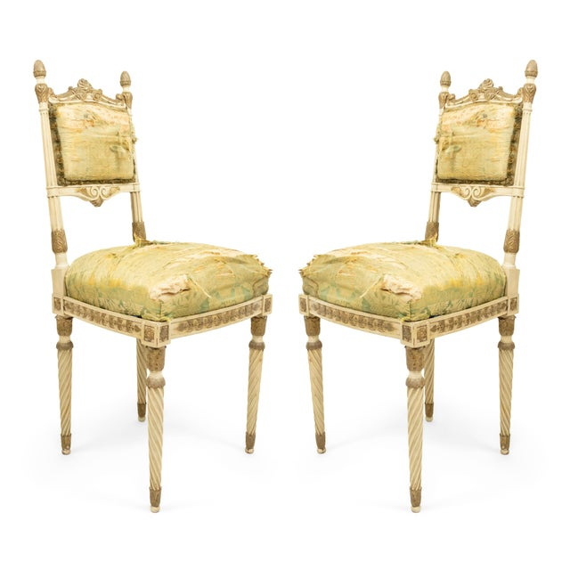 Italian Neoclassic Silk Upholstery Chairs For Sale - Image 11 of 11