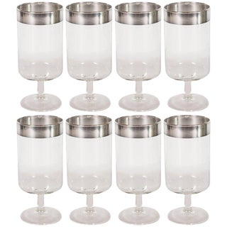 Midcentury Drinks Glasses With Sterling Silver Overlay by Dorothy Thorpe - Set of 8