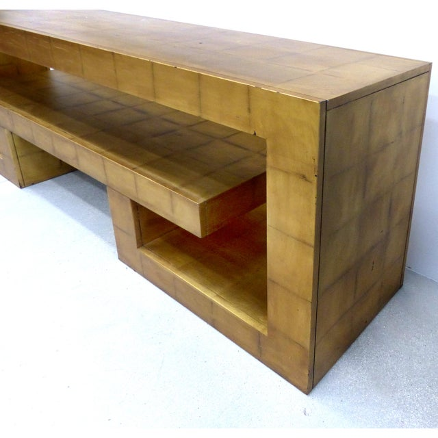 Mid-Century Modern James Mont Style Gold Leaf Console For Sale - Image 3 of 9