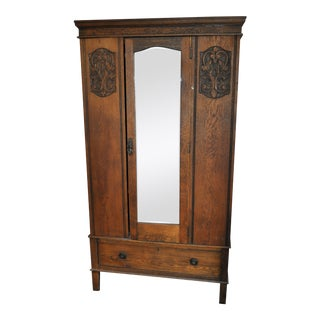 Vintage Oak Armoire With Mirror For Sale