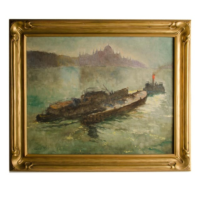 "Early 20th Century ""Towboat"" Nautical Oil Painting by Pal Fried, Framed For Sale - Image 12 of 12"