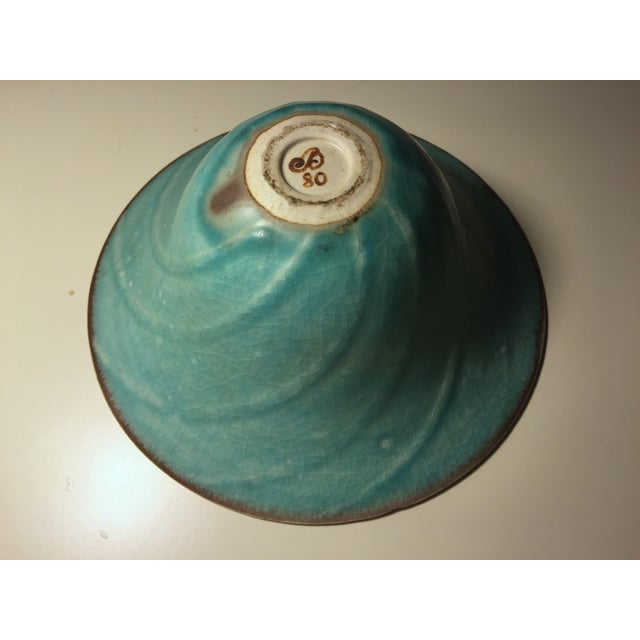 Vintage Aqua Hand-Made Art Pottery Bowl - Image 5 of 7