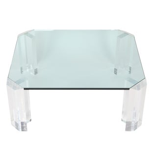 1970's VINTAGE RECTANGULAR GLASS COCKTAIL TABLE For Sale