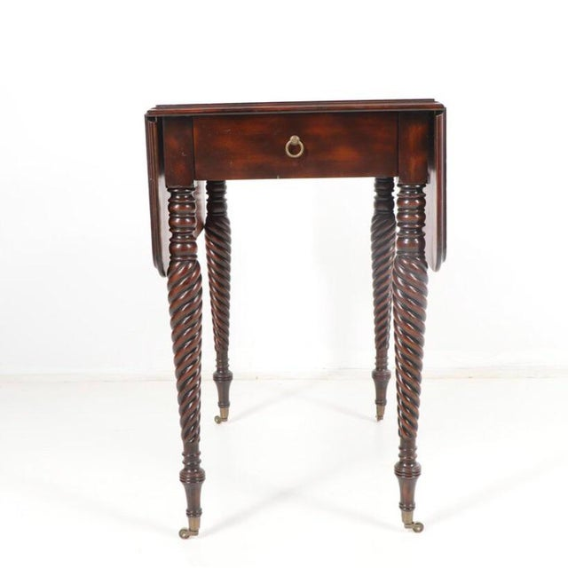 Gorgeous Maitland-Smith Mahogany Barley Twist Drop Leaf Table For Sale - Image 13 of 13