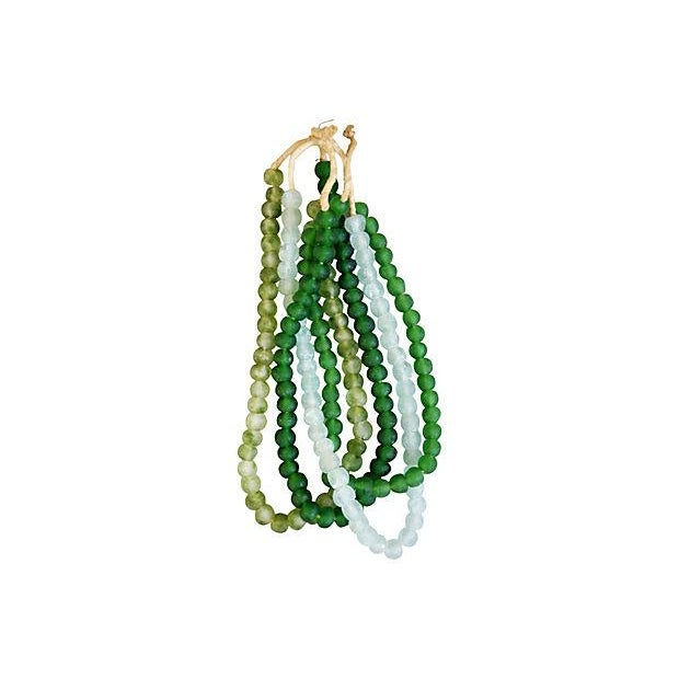 Emerald & Ice Sea Glass Bead Strands - Set of 4 For Sale - Image 4 of 4