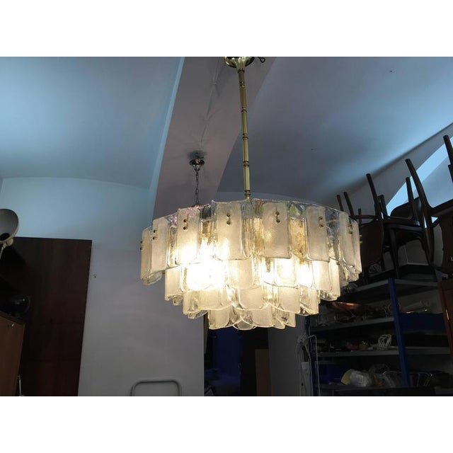 Brass Large Crystal Glass Chandelier, 1960s For Sale - Image 7 of 11