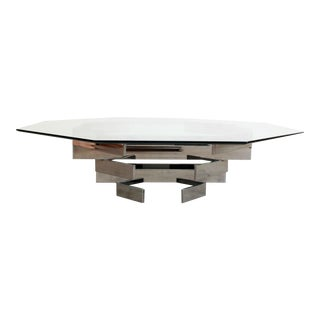 Mid Century Modern Stacked Chrome Octagonal Coffee Table by Paul Mayen For Sale
