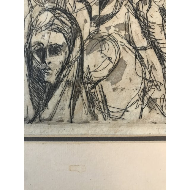Mid Century Etching of People For Sale - Image 4 of 8