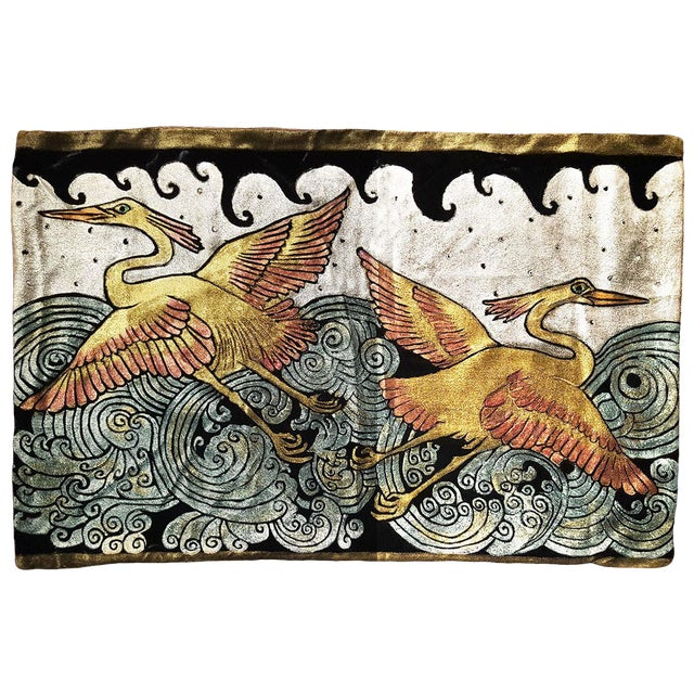 Heron Silk Velvet Pillow Cover For Sale