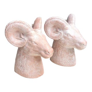 1970s Pink Plaster Ram Head Bookends - a Pair For Sale