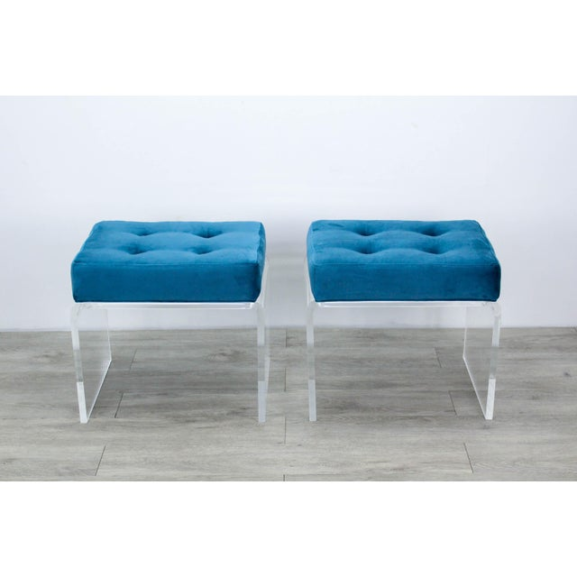 Pair of Teal Waterfall Lucite & Velvet Benches For Sale In Miami - Image 6 of 7