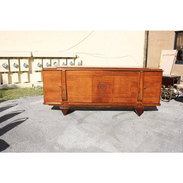 Bronze Master Piece French Art Deco Sideboard / Buffet Rosewood By Jules Leleu Circa 1940s For Sale - Image 7 of 11
