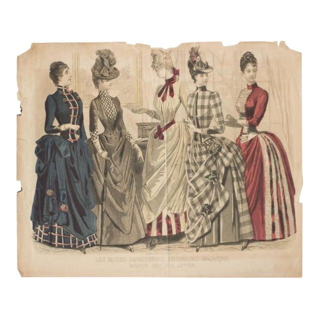 Antique 1880s Fashion Print For Sale
