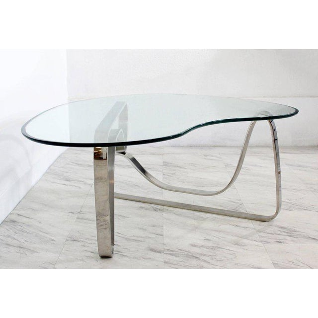 Mid-Century Modern Mid-Century Modern Sculptural Chrome Kidney Glass Coffee Table Pace Era, 1970s For Sale - Image 3 of 10