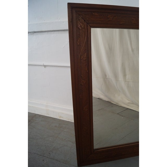 Vintage Incised Carved Vine Leaf Frame Wall Mirror - Image 7 of 10