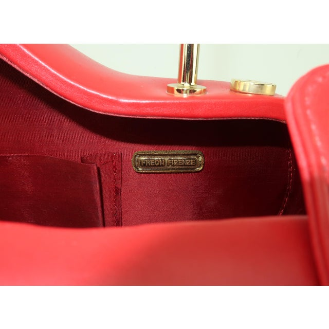 Freon Firenze Italian Red Leather Handbag With Unique Handle For Sale - Image 9 of 12