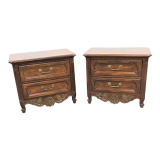 Country French Carved Oak Nightstands - a Pair